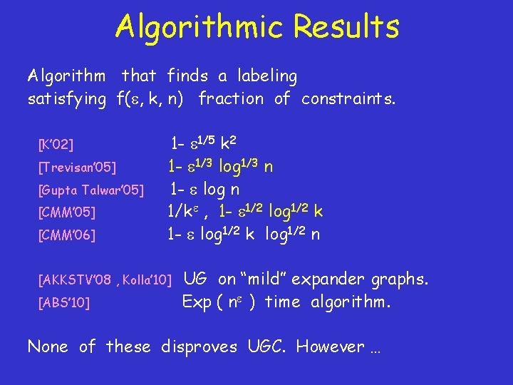Algorithmic Results Algorithm that finds a labeling satisfying f( , k, n) fraction of