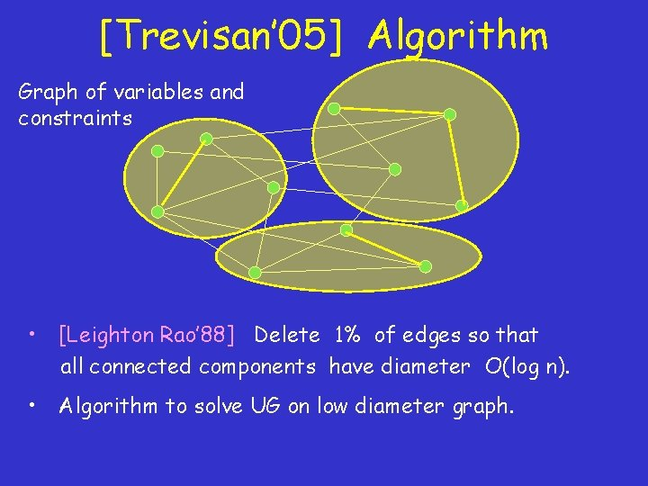 [Trevisan' 05] Algorithm Graph of variables and constraints • [Leighton Rao' 88] Delete 1%