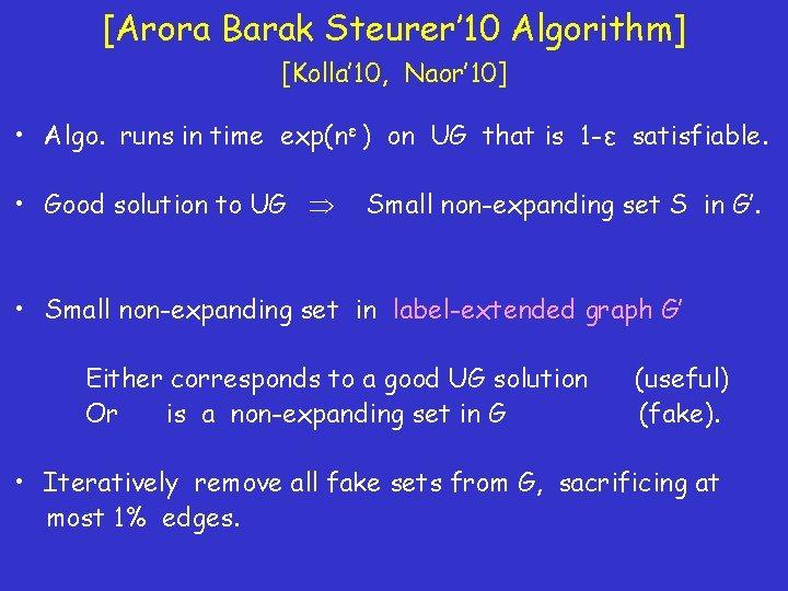 [Arora Barak Steurer' 10 Algorithm] [Kolla' 10, Naor' 10] • Algo. runs in time