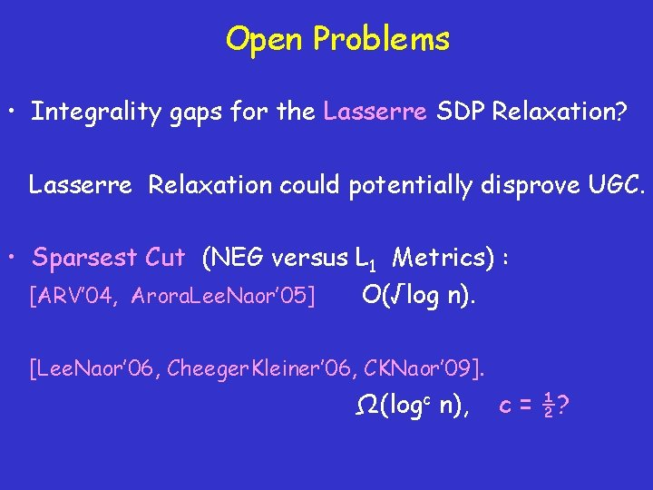 Open Problems • Integrality gaps for the Lasserre SDP Relaxation? Lasserre Relaxation could potentially