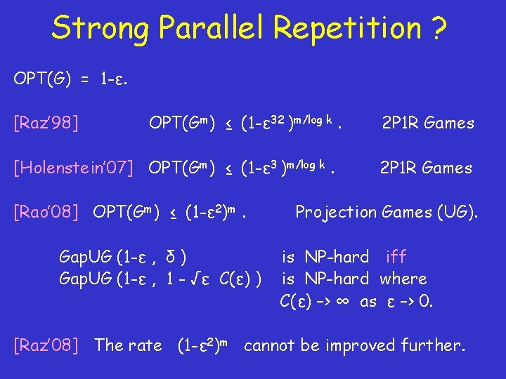 Strong Parallel Repetition ? OPT(G) = 1 -ε. [Raz' 98] OPT(Gm) ≤ (1 -ε