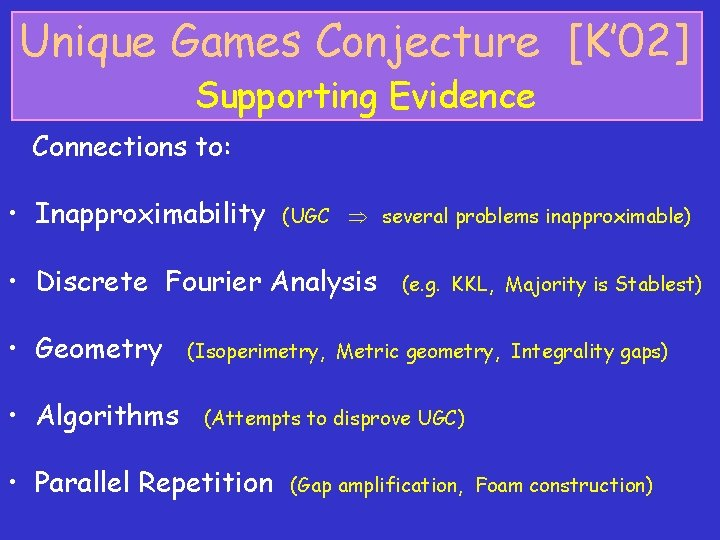 Unique Games Conjecture [K' 02] Supporting Evidence Connections to: • Inapproximability (UGC several problems