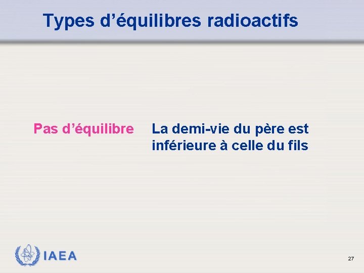 Types d'équilibres radioactifs Pas d'équilibre IAEA La demi-vie du père est inférieure à celle