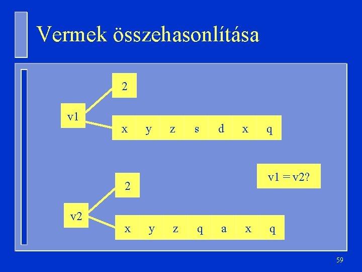 Vermek összehasonlítása 2 v 1 x y z s d x v 1 =