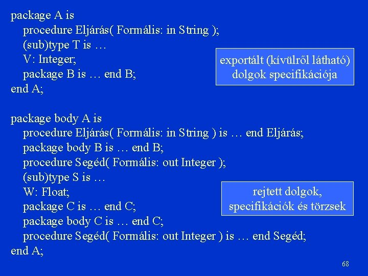 package A is procedure Eljárás( Formális: in String ); (sub)type T is … V: