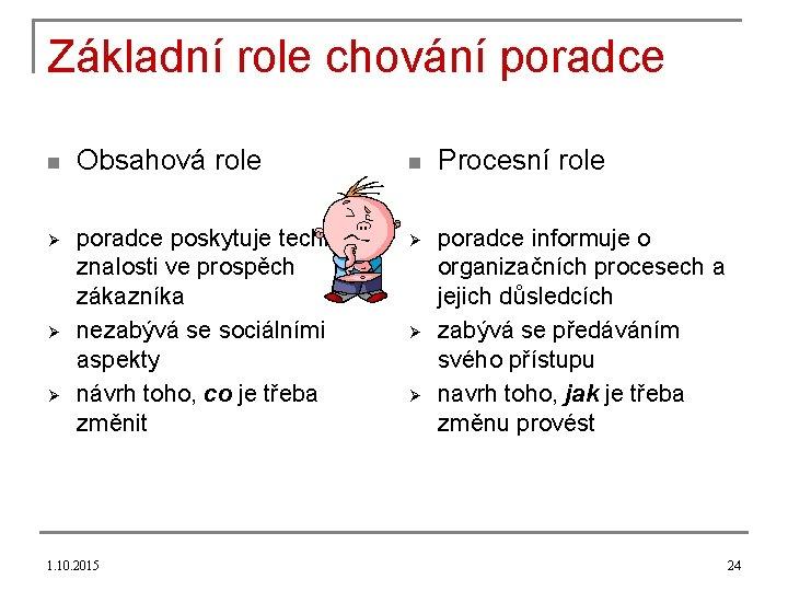 Základní role chování poradce n Ø Ø Ø Obsahová role poradce poskytuje technické znalosti