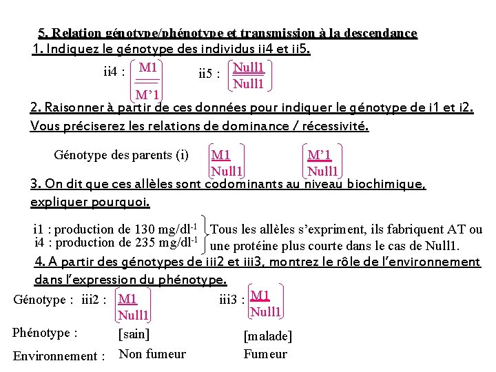 5. Relation génotype/phénotype et transmission à la descendance 1. Indiquez le génotype des individus