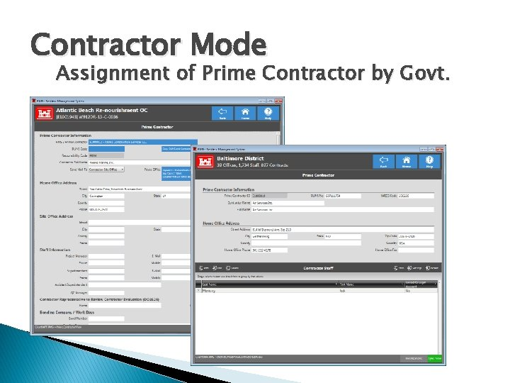 Contractor Mode Assignment of Prime Contractor by Govt.