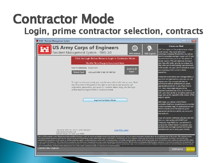 Contractor Mode Login, prime contractor selection, contracts