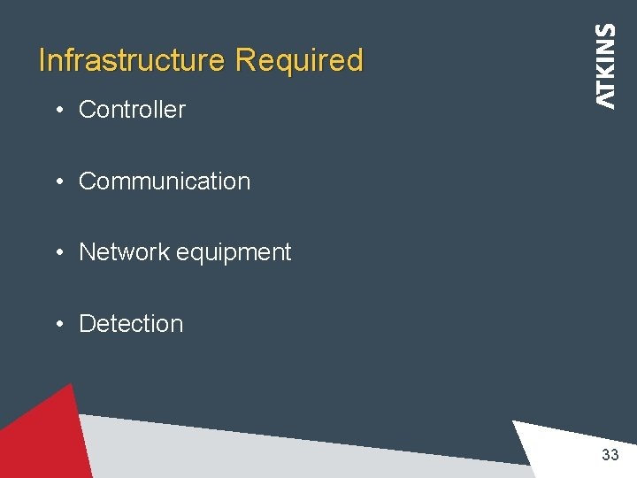 Infrastructure Required • Controller • Communication • Network equipment • Detection 33