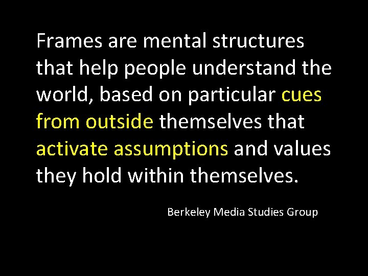 Frames are mental structures that help people understand the world, based on particular cues
