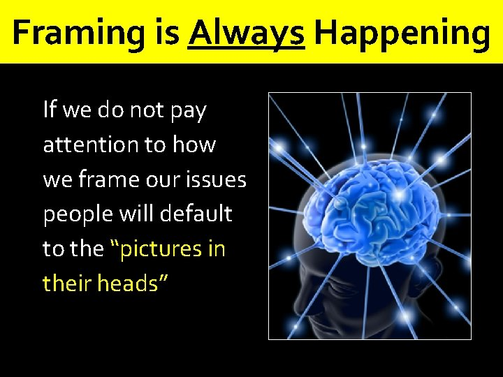 Framing is Always Happening If we do not pay attention to how we frame