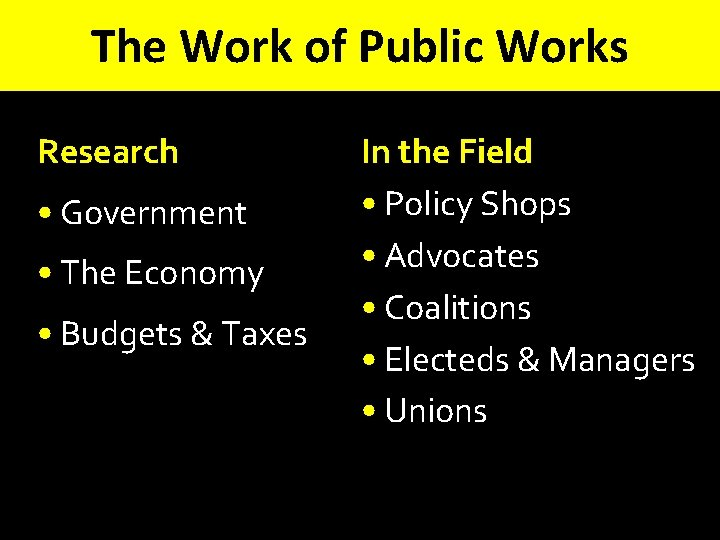 The Work of Public Works Research • Government • The Economy • Budgets &
