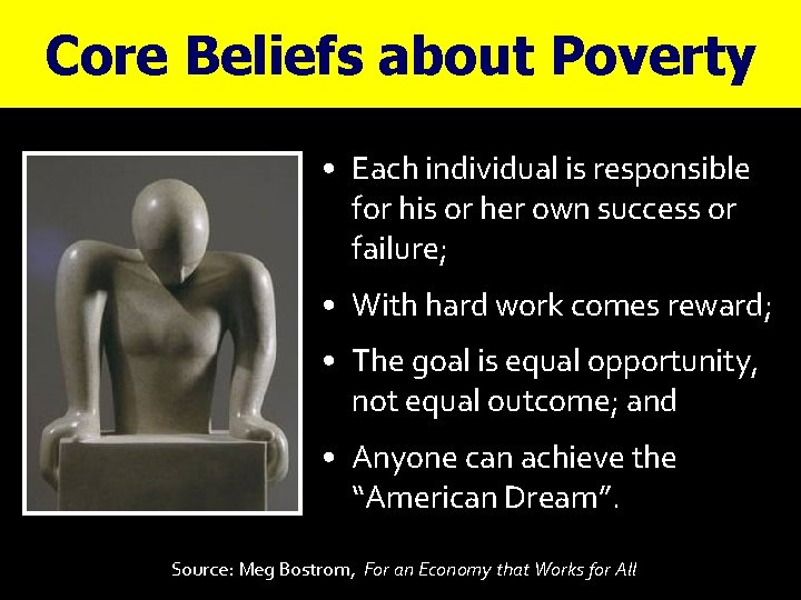Core Beliefs about Poverty • Each individual is responsible for his or her own