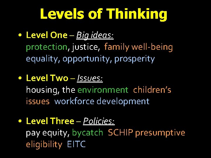 Levels of Thinking • Level One – Big ideas: protection, justice, family well-being, equality,
