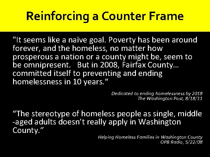 """Reinforcing a Counter Frame """"It seems like a naïve goal. Poverty has been around"""
