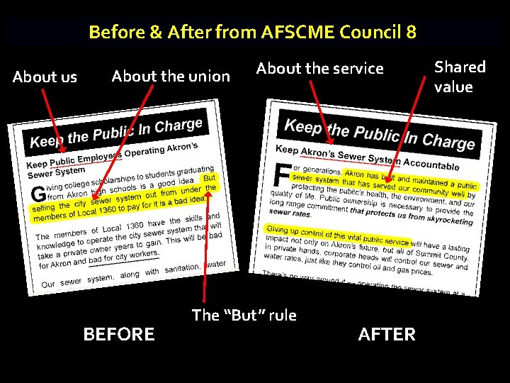 Before & After from AFSCME Council 8 About us About the union BEFORE About