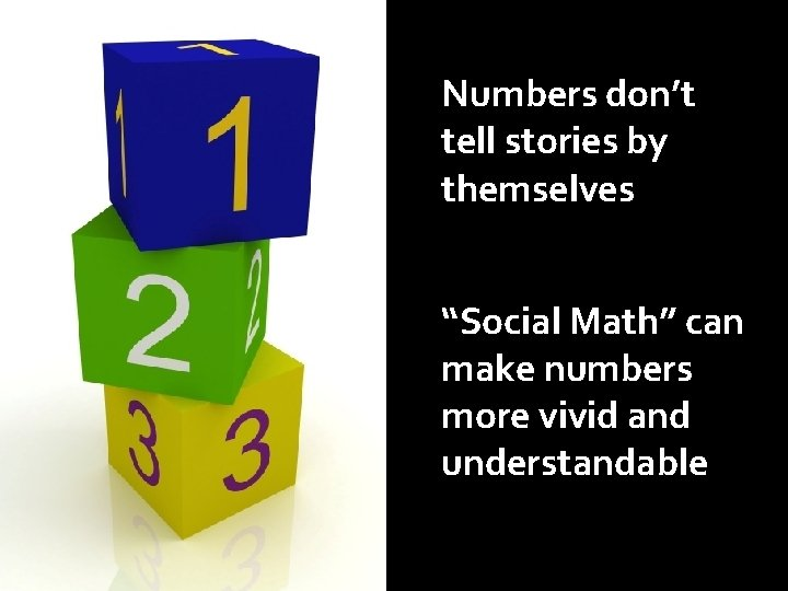 """Numbers don't tell stories by themselves """"Social Math"""" can make numbers more vivid and"""