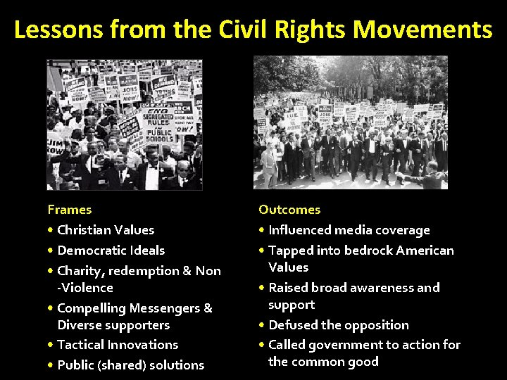 Lessons from the Civil Rights Movements Frames • Christian Values • Democratic Ideals •