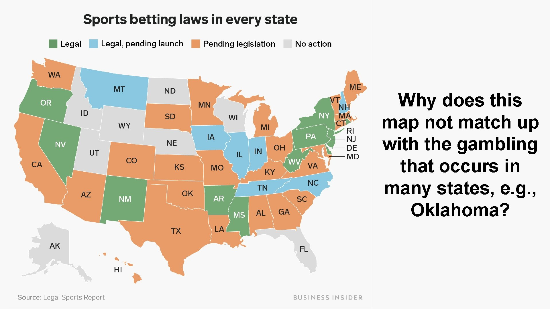 Why does this map not match up with the gambling that occurs in many