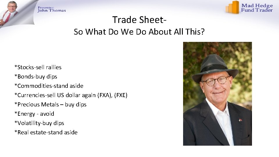 Trade Sheet- So What Do We Do About All This? *Stocks-sell rallies *Bonds-buy dips