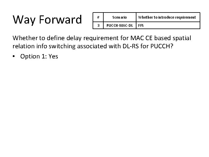 Way Forward # Scenario 3 PUCCH-MAC-DL Whether to introduce requirement FFS Whether to define