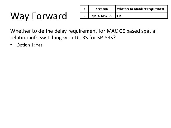 Way Forward # Scenario 8 sp. SRS-MAC-DL Whether to introduce requirement FFS Whether to