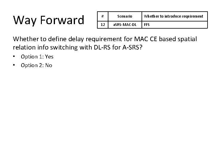 Way Forward # Scenario 12 a. SRS-MAC-DL Whether to introduce requirement FFS Whether to