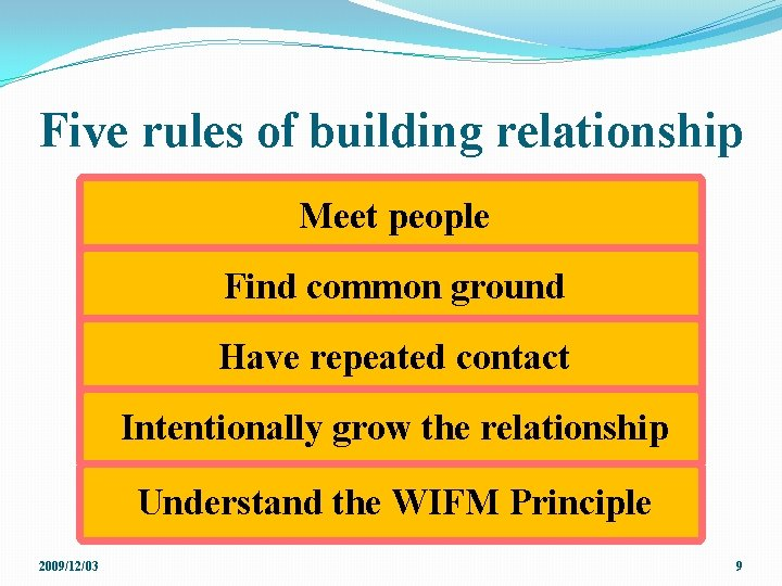 Five rules of building relationship Meet people Find common ground Have repeated contact Intentionally