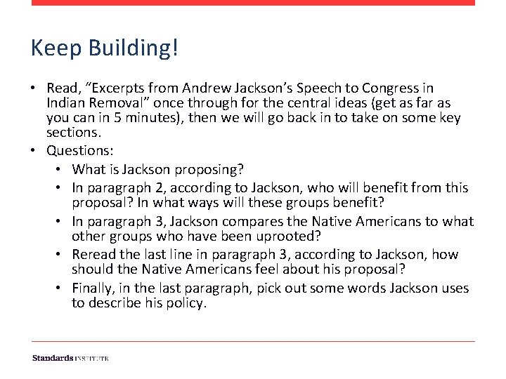 """Keep Building! • Read, """"Excerpts from Andrew Jackson's Speech to Congress in Indian Removal"""""""