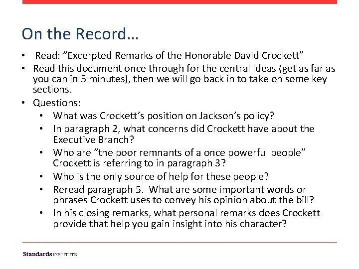"""On the Record… • Read: """"Excerpted Remarks of the Honorable David Crockett"""" • Read"""