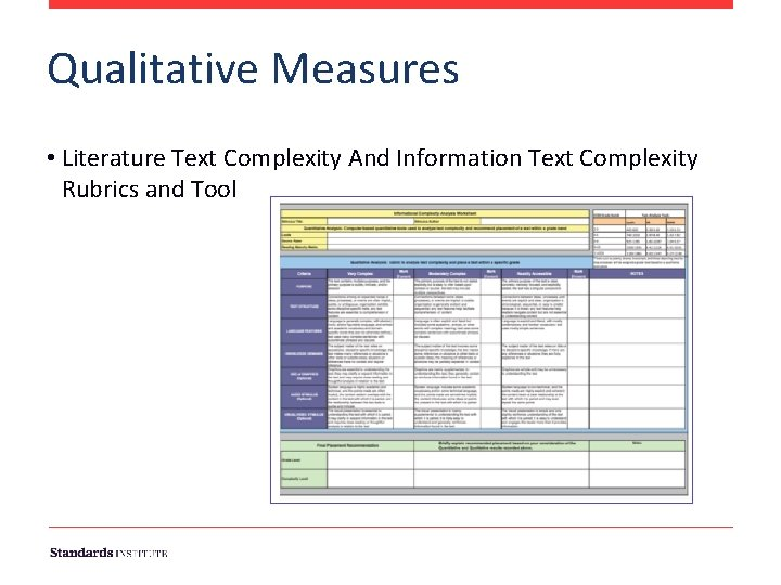 Qualitative Measures • Literature Text Complexity And Information Text Complexity Rubrics and Tool