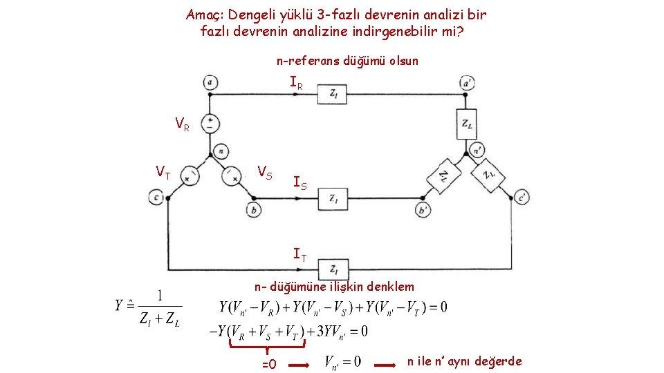 Amaç: Dengeli yüklü 3 -fazlı devrenin analizi bir fazlı devrenin analizine indirgenebilir mi? n-referans