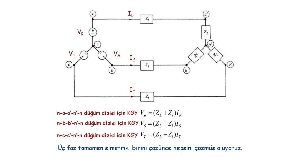 IR VR VT VS IS IT n-a-a'-n'-n düğüm dizisi için KGY n-b-b'-n'-n düğüm dizisi