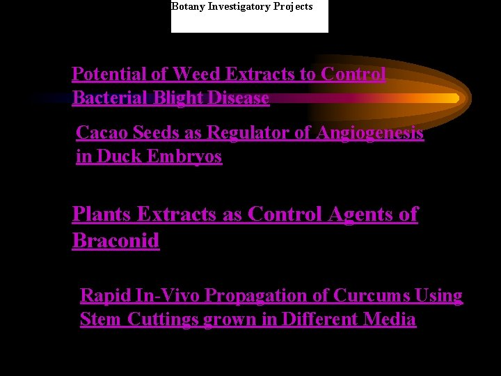 Botany Investigatory Projects Potential of Weed Extracts to Control Bacterial Blight Disease Cacao Seeds