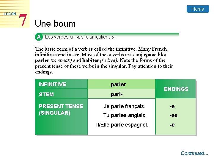 LEÇON 7 Home Une boum A Les verbes en -er: le singulier p. 94