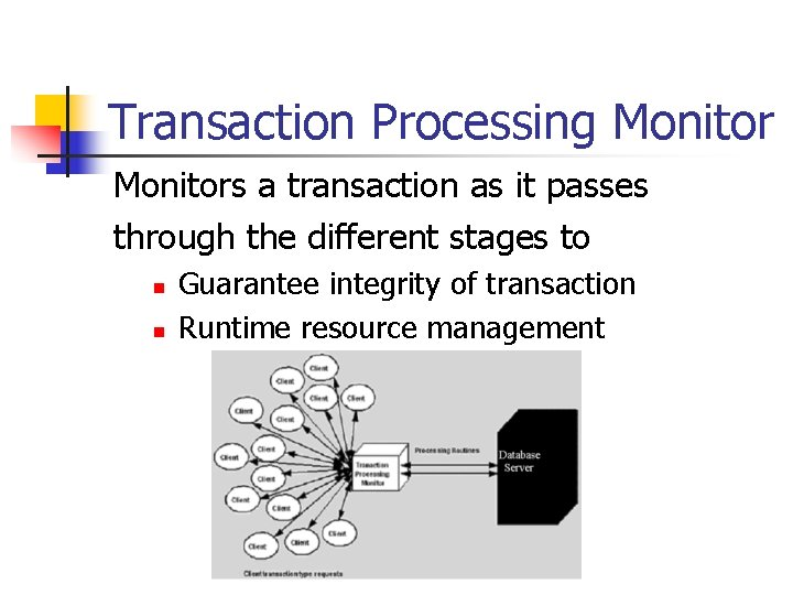 Transaction Processing Monitors a transaction as it passes through the different stages to n