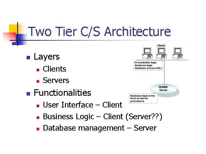 Two Tier C/S Architecture n Layers n n n Clients Servers Functionalities n n
