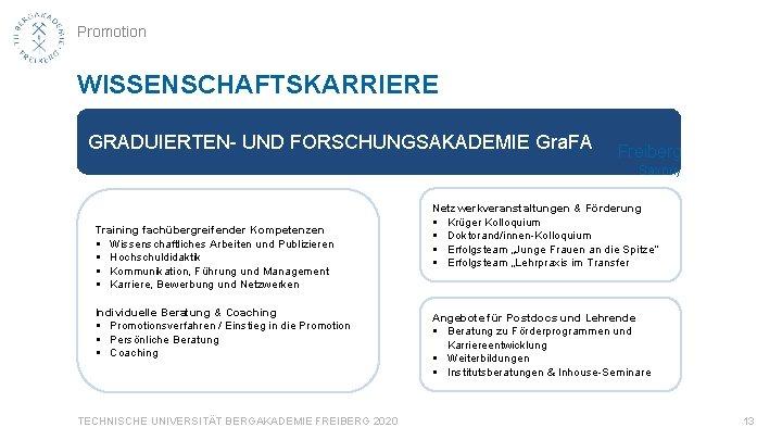 Promotion WISSENSCHAFTSKARRIERE GRADUIERTEN- UND FORSCHUNGSAKADEMIE Gra. FA Freiberg Saxony Training fachübergreifender Kompetenzen § Wissenschaftliches