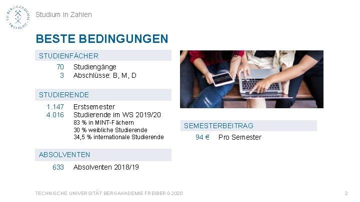 Studium in Zahlen BESTE BEDINGUNGEN STUDIENFÄCHER 70 3 Studiengänge Abschlüsse: B, M, D STUDIERENDE