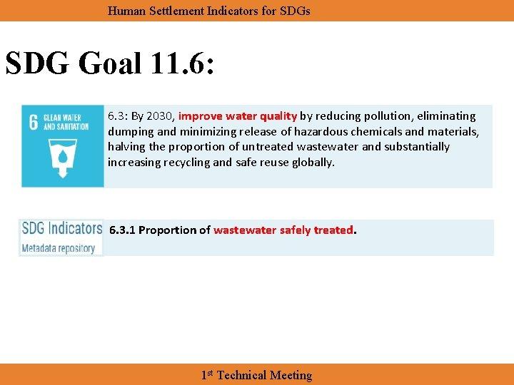 Human Settlement Indicators for SDGs SDG Goal 11. 6: 6. 3: By 2030, improve