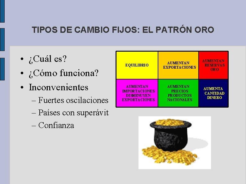 TIPOS DE CAMBIO FIJOS: EL PATRÓN ORO • ¿Cuál es? • ¿Cómo funciona? •