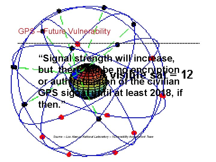 """GPS – Future Vulnerability """"Signal strength will increase, but there will be no encryption"""