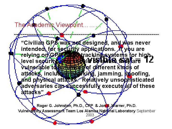 """The Academic Viewpoint……… """"Civilian GPS was not designed, and was never intended, for security"""