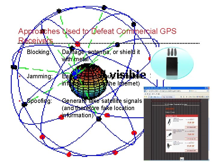 Approaches Used to Defeat Commercial GPS Receivers • Blocking: Damage antenna, or shield it