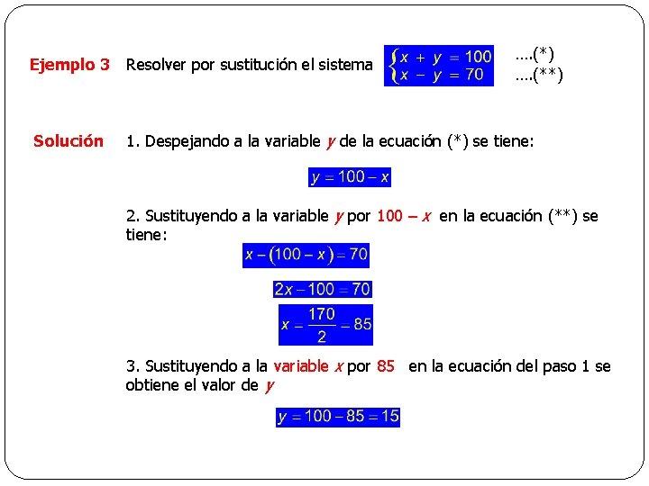 Ejemplo 3 Resolver por sustitución el sistema Solución …. (*) …. (**) 1. Despejando