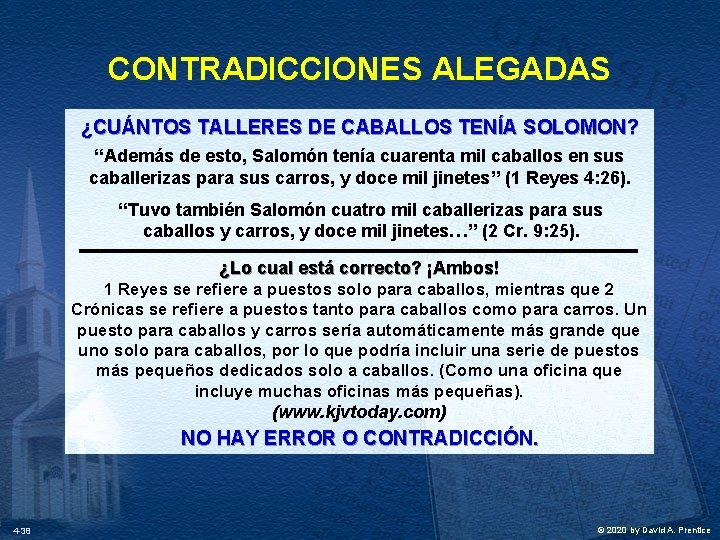 """CONTRADICCIONES ALEGADAS ¿CUÁNTOS TALLERES DE CABALLOS TENÍA SOLOMON? """"Además de esto, Salomón tenía cuarenta"""