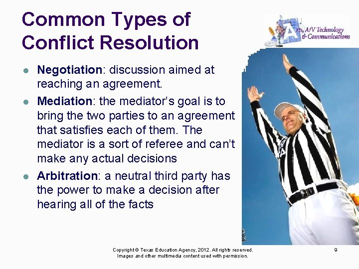 Common Types of Conflict Resolution l l l Negotiation: discussion aimed at reaching an