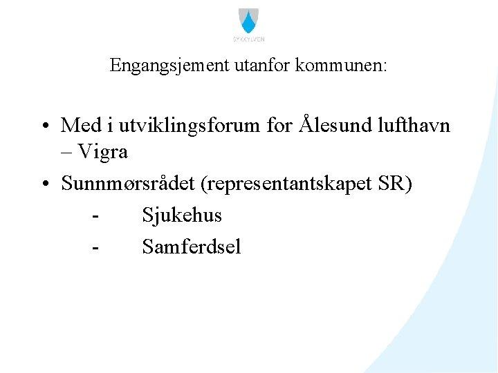 Engangsjement utanfor kommunen: • Med i utviklingsforum for Ålesund lufthavn – Vigra • Sunnmørsrådet