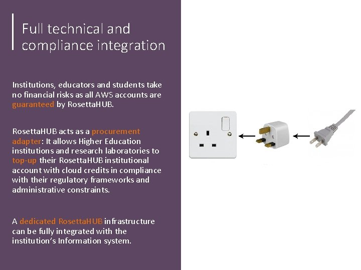 Full technical and compliance integration Institutions, educators and students take no financial risks as